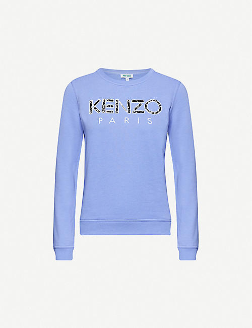 KENZO: Logo-embroidered cotton-jersey sweatshirt