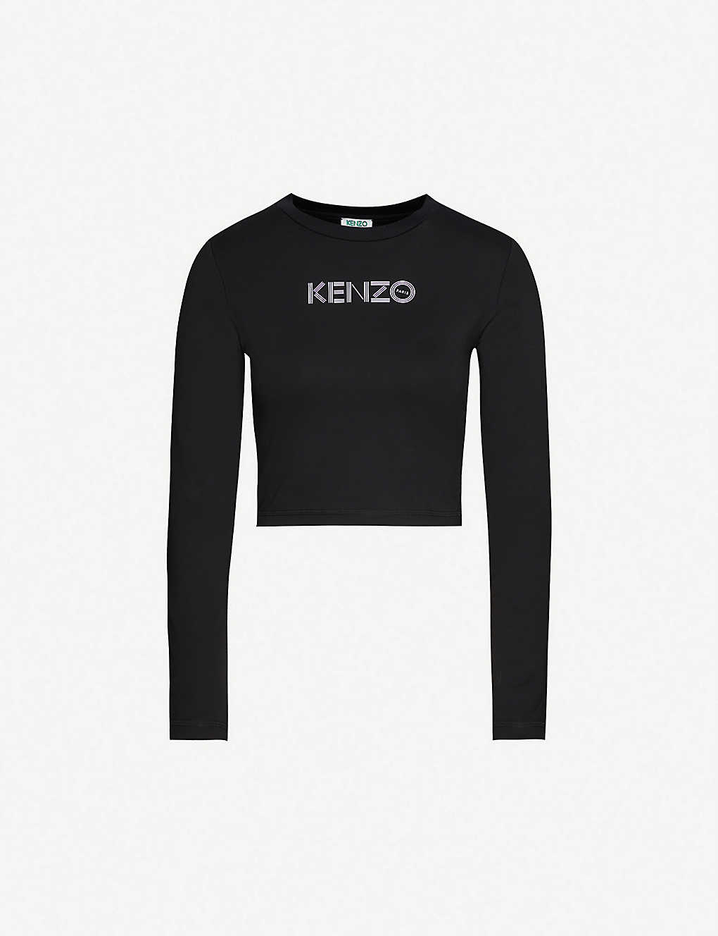 KENZO: Logo-print stretch-cotton top