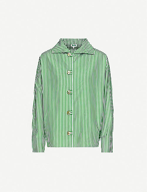 KENZO: Striped relaxed-fit cotton-poplin shirt