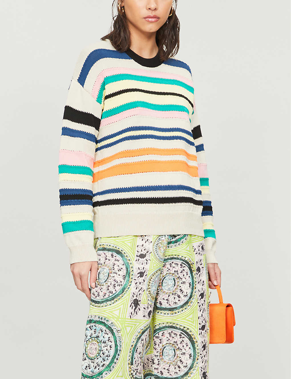 KENZO: Striped cotton-blend knit jumper