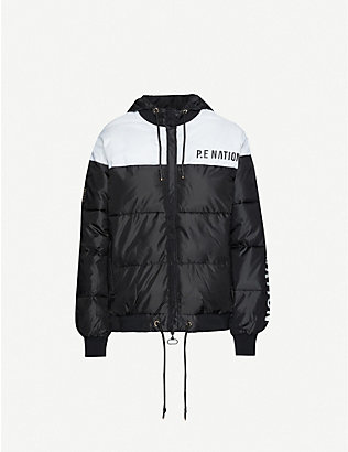 P.E NATION: Lead Right logo-print puffer shell jacket