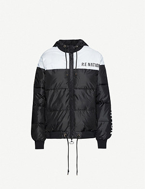 P.E NATION Lead Right logo-print puffer shell jacket