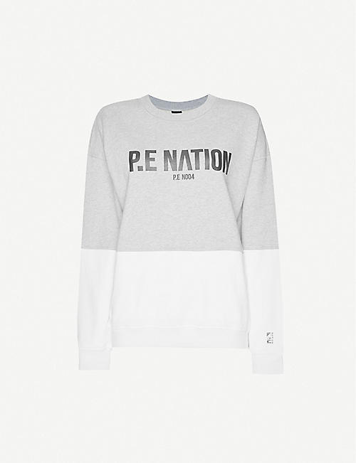 P.E NATION Fastest Lap logo-print cotton-jersey jumper