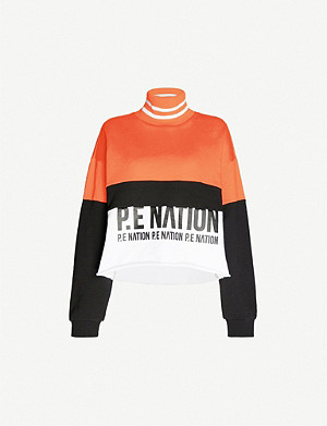 P.E NATION Real Challenger logo-print cotton-jersey sweatshirt