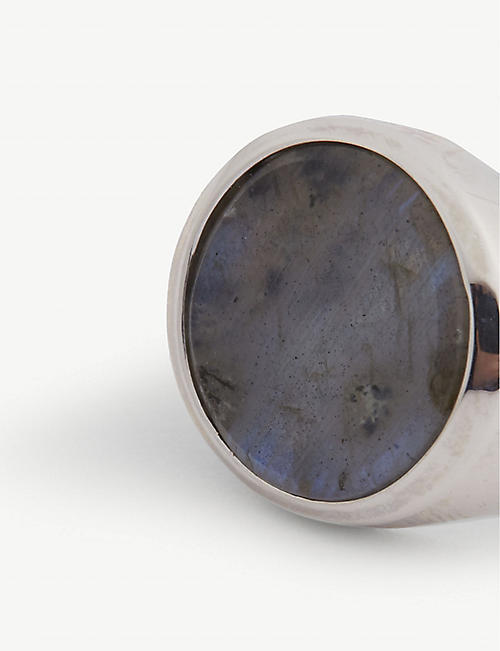 NORTHSKULL Labradorite disc silver-plated pinky ring