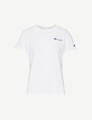 CHAMPION Logo-embroidered cotton-jersey T-shirt