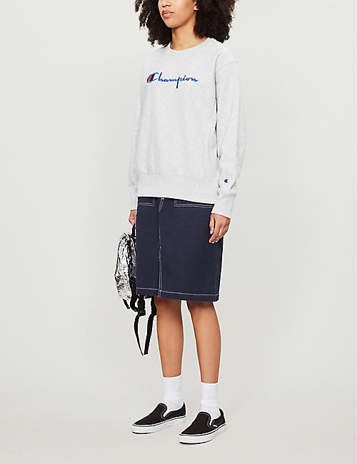 CHAMPION Logo-embroidered cotton-jersey sweatshirt