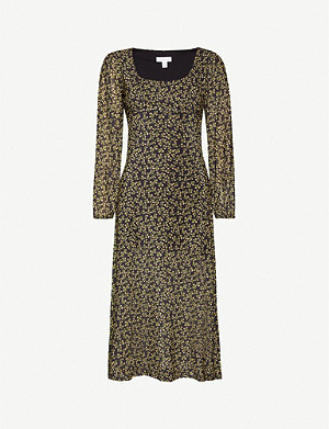 TOPSHOP Floral stretch-jersey midi dress