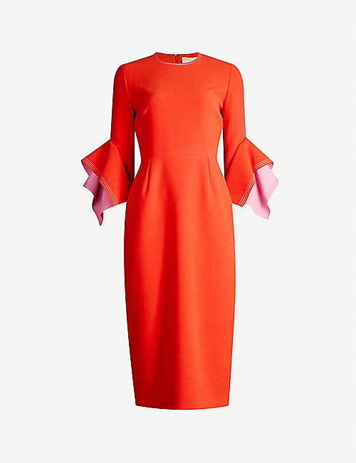 ROKSANDA Ronda flared-cuffs crepe midi dress