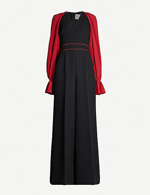 ROKSANDA Holin contrast-piping flared-cuffs crepe jumpsuit