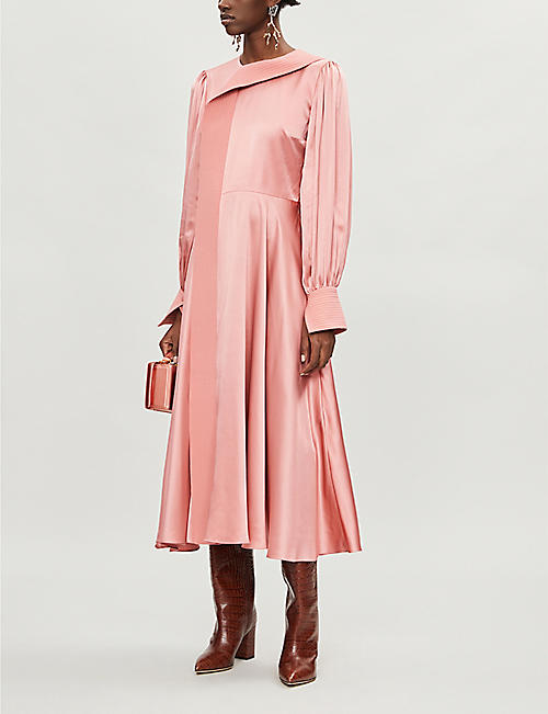 ROKSANDA Adyn puffed-sleeves silk-satin midi dress