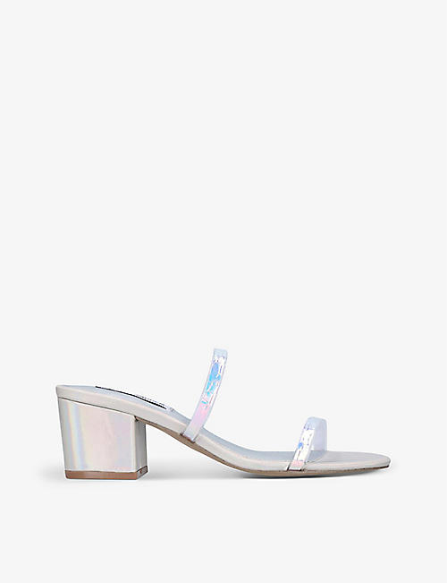 STEVE MADDEN: Open Toe Barely There iridescent sandals