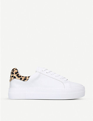 STEVE MADDEN: Merger leopard-print faux-leather and faux-pony hair trainers