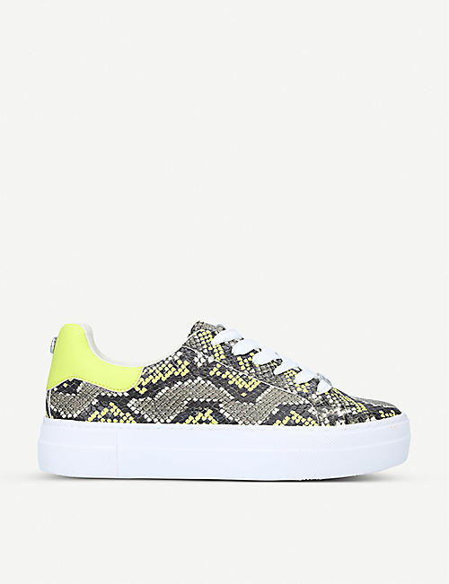 STEVE MADDEN: Merger snake-print faux-leather trainers