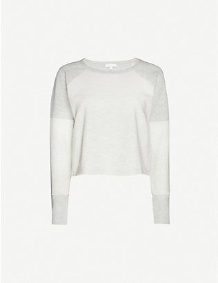 BEYOND YOGA: Feels herringbone-print cotton-blend jersey jumper