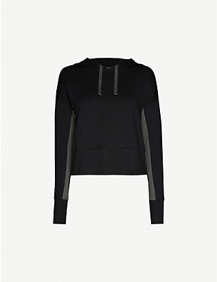 BEYOND YOGA: Swear contrast-panel stretch-woven hoody