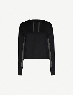 BEYOND YOGA Swear contrast-panel stretch-woven hoody