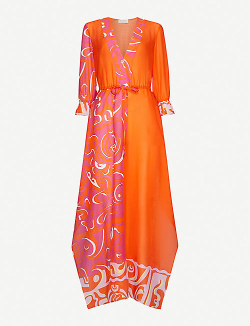 EMILIO PUCCI: Graphic-pattern cotton-and-silk blend kaftan