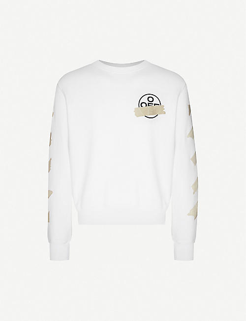 OFF-WHITE C/O VIRGIL ABLOH Logo-print crewneck cotton-jersey jumper