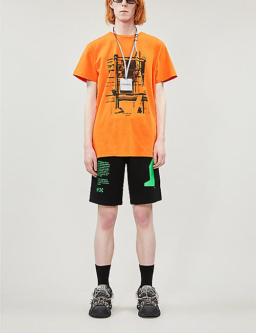OFF-WHITE C/O VIRGIL ABLOH Graphic-print cotton-jersey shorts