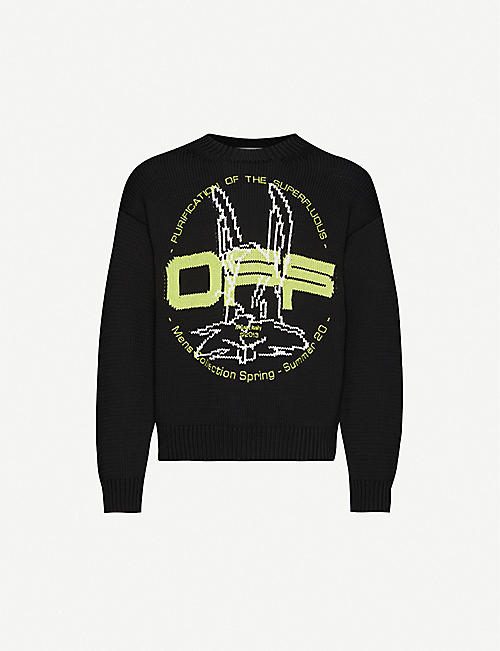 OFF-WHITE C/O VIRGIL ABLOH Harry The Bun brand-pattern cotton-blend jumper