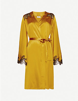 ID SARRIERI: H?tel Particulier lace-trimmed satin dressing gown