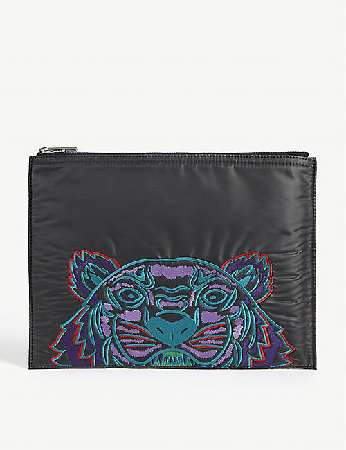 KENZO Tiger embroidered nylon pouch