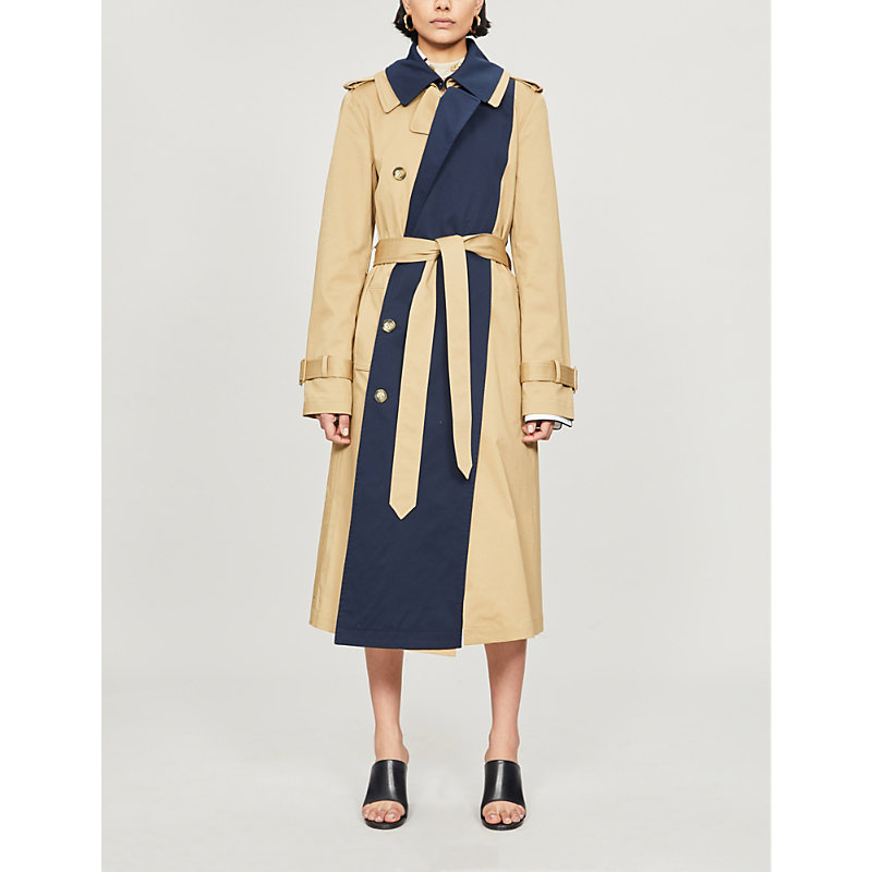 Monse DOUBLE-COLLAR CONTRAST STRETCH-COTTON TRENCH COAT