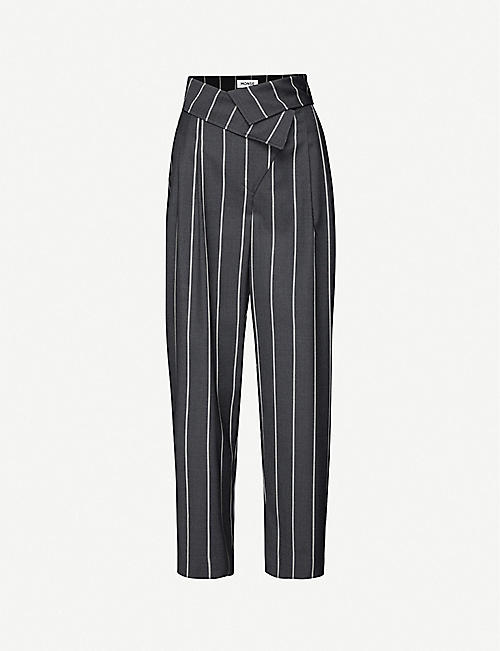 MONSE Pinstriped wide-leg wool trousers