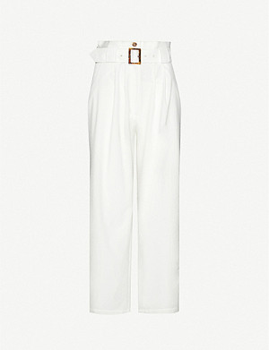SOLID & STRIPED Seersucker wide-leg high-rise trousers