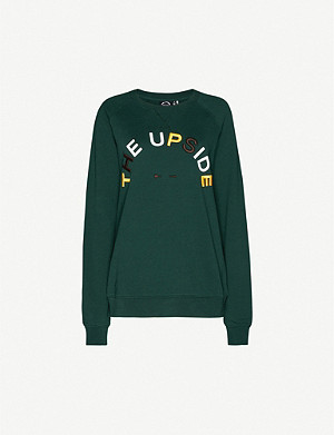 THE UPSIDE Horseshoe logo-embroidery cotton-jersey sweatshirt
