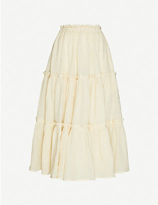 LISA MARIE FERNANDEZ: Ruffled linen-blend midi peasant skirt