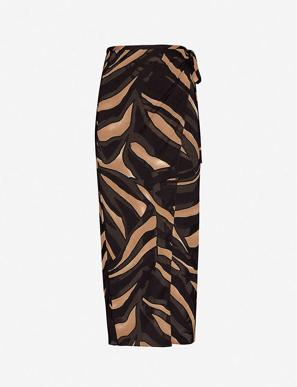 LISA MARIE FERNANDEZ: Tiger-print semi-sheer crepe midi wrap skirt