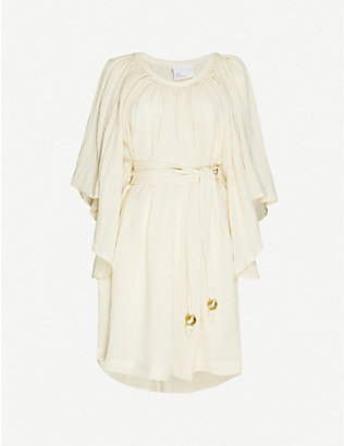 LISA MARIE FERNANDEZ: Angel-sleeve linen mini dress