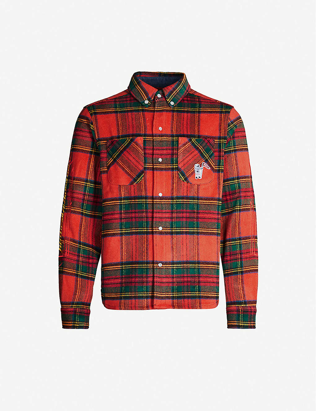 BILLIONAIRE BOYS CLUB: Logo-embroidered relaxed-fit flannel shirt