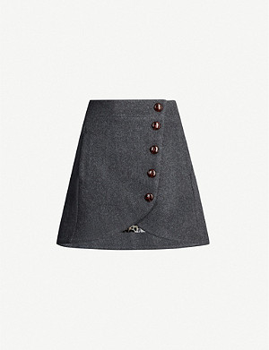 GANNI Button wool-blend mini skirt