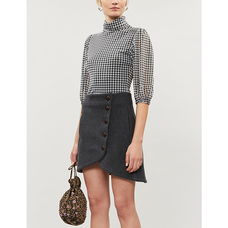 Ganni Skirts BUTTON WOOL-BLEND MINI SKIRT