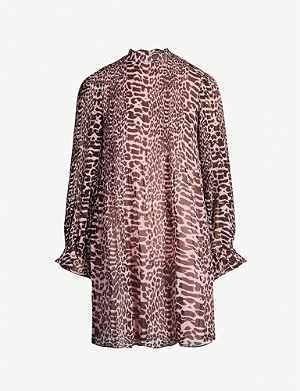 GANNI Ganni Georgette animal print dress