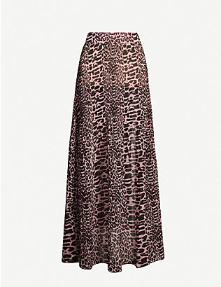 GANNI: Leopard-print high-waist pleated crepe maxi skirt