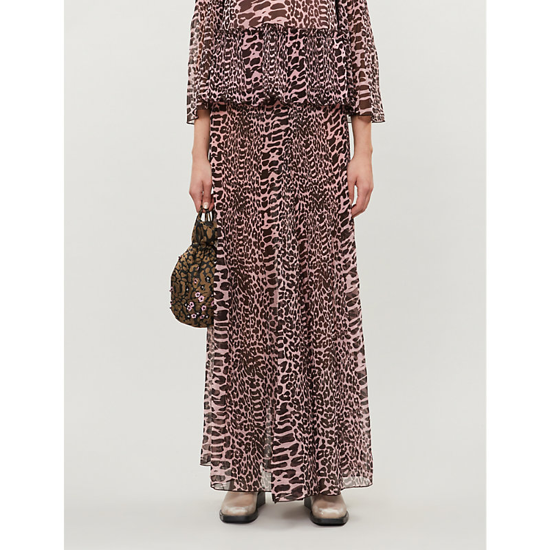 Ganni Skirts LEOPARD-PRINT HIGH-WAIST PLEATED CREPE MAXI SKIRT