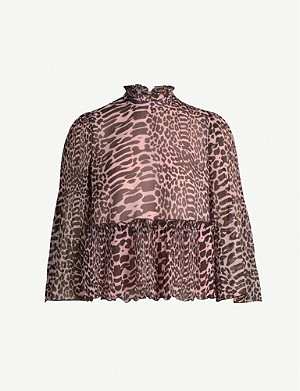 GANNI Georgette animal-print top