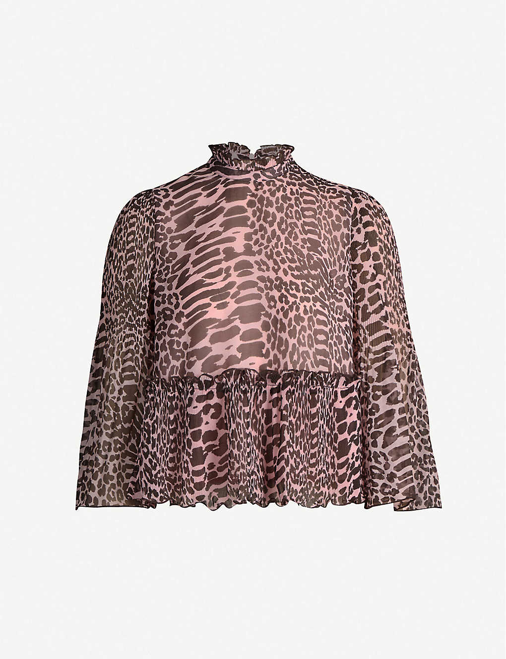 GANNI: Georgette animal-print top