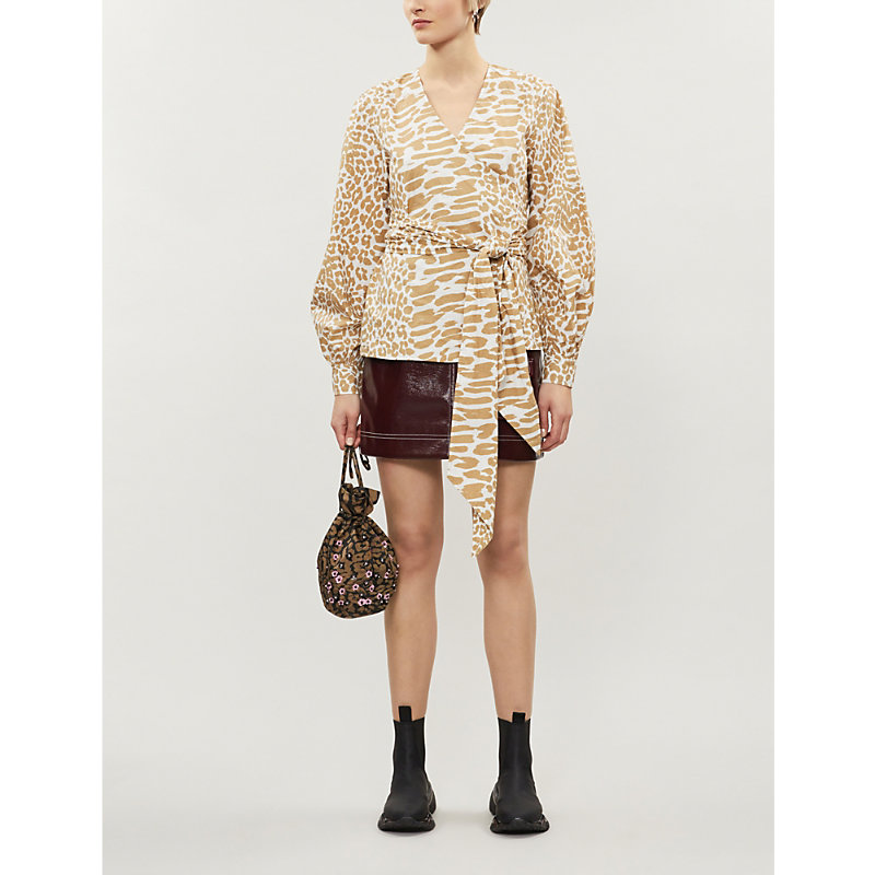 Ganni Tops ANIMAL-PRINT V-NECK COTTON BLOUSE