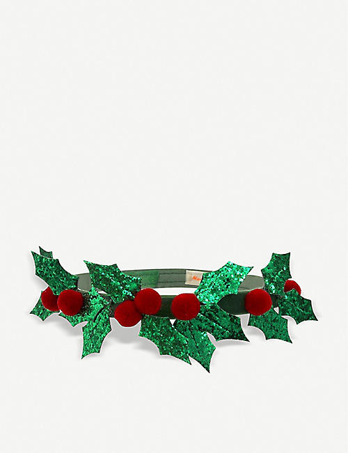 MERI MERI Glitter and pompom holly headband
