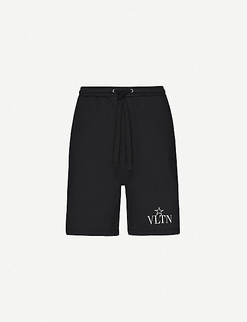 VALENTINO Logo-print cotton-blend jersey shorts