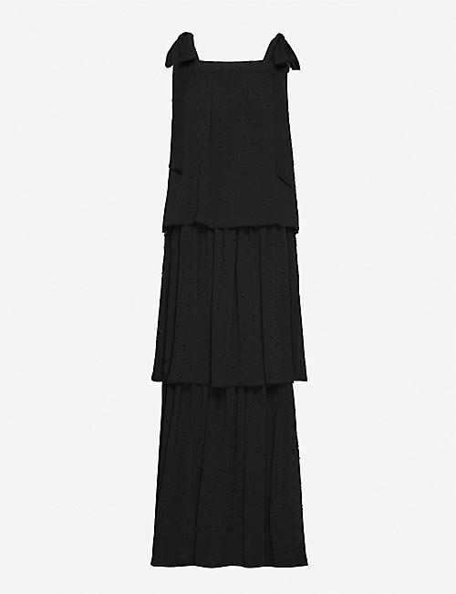 HAPPY X NATURE Tiered embroidered-pattern crepe midi dress