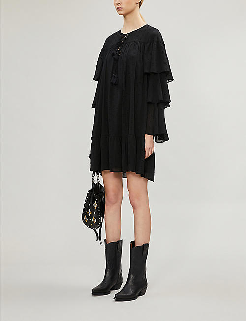 HAPPY X NATURE Latrois tiered-sleeve crepe mini dress