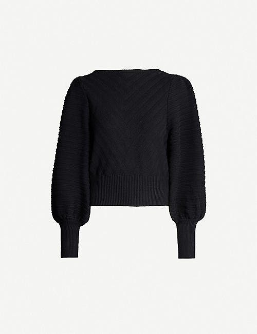 HAPPY X NATURE Grace puff textured knitted jumper