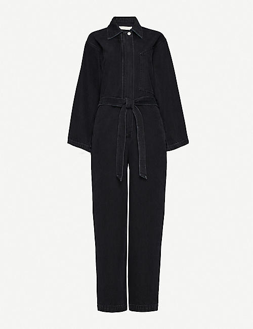 HAPPY X NATURE Relaxed-fit belted denim jumpsuit