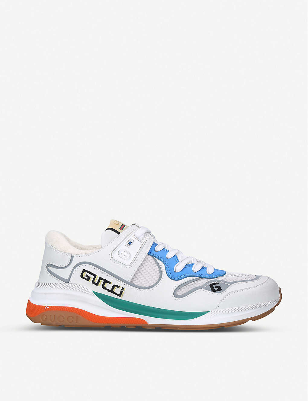 GUCCI: Ultrapace colour-blocked leather and mesh trainers